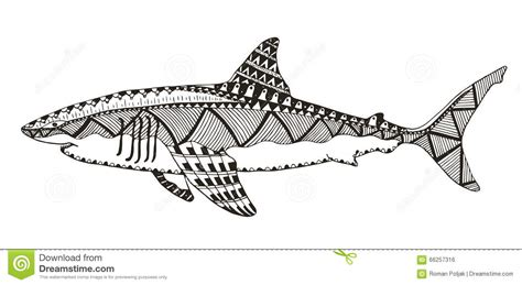 shark mandala coloring pages shark zentangle stylized vector illustration pattern