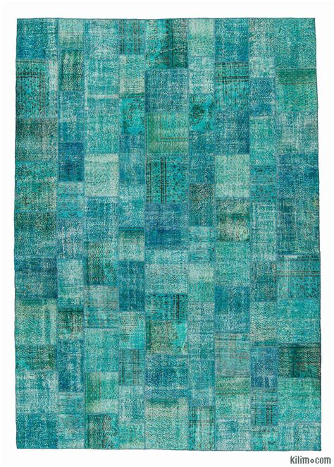 Overdyed Patchwork Rug - k0008015 turquoise dyed turkish patchwork rug