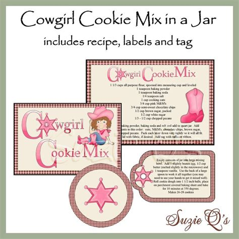 printable mason jar cookie labels make your own cowgirl cookie mix in a jar labels tag