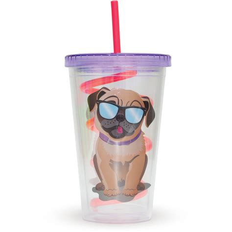 pug cup pug straw cup multi 16oz iwoot