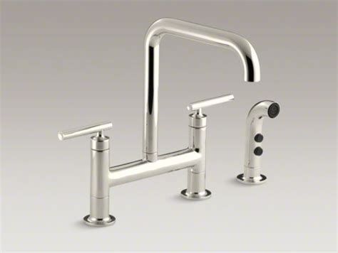 kohler purist kitchen faucet kohler purist r two hole deck mount bridge bridge kitchen
