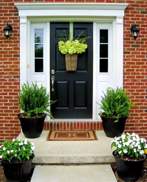 Front Door Plants Stylish Black Front Doors Change Your House S Curb Appeal