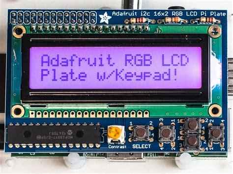 Raspberry Pi Rgb Lcd 1602 Shield adafruit rgb positive 16x2 lcd keypad kit for raspberry pi