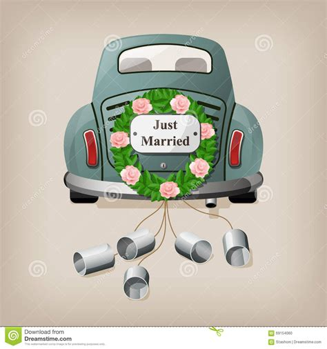 Just Married Auto Comic by Just Married On Car Stock Vector Illustration Of Comic
