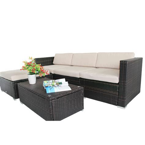 Cushion Replacement Covers by Outsunny 7pc Rattan Garden Wicker Furniture Cushion