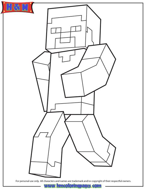 Steve Coloring Pages minecraft steve coloring pages