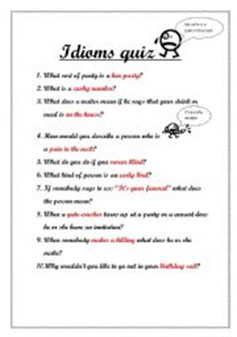 Printable Idioms Quiz | english teaching worksheets quizzes