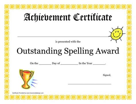 outstanding certificate template outstanding spelling award printable certificate pdf