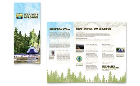 nature cing hiking brochure template word publisher
