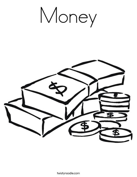 money coloring page twisty noodle