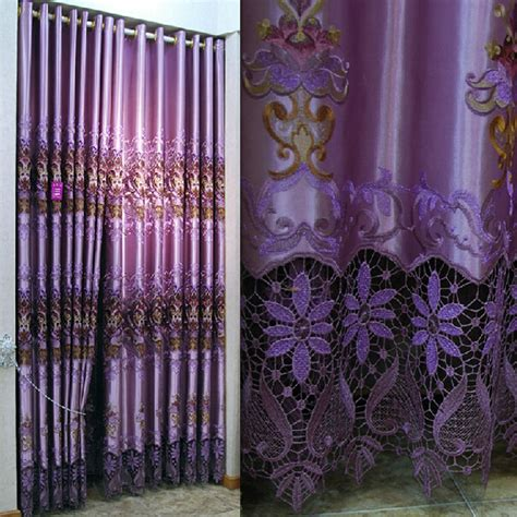 purple floral embroidery curtains for bedroom