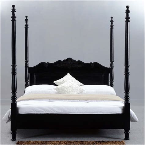 Midnight Solid Wood Four Poster Bed Frame W Hand Carved Wooden Four Poster Bed Frames