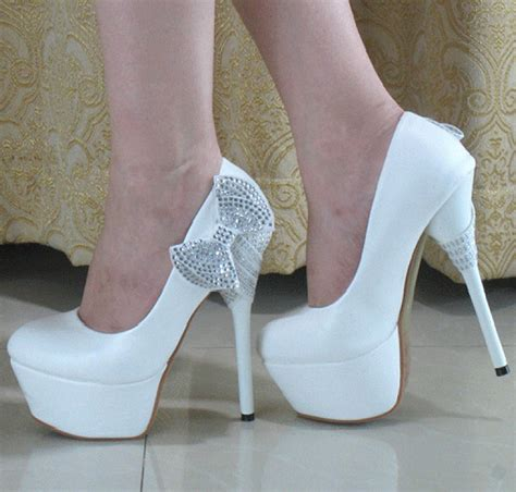 white high heels with bow glitter string bows princess stiletto high heels