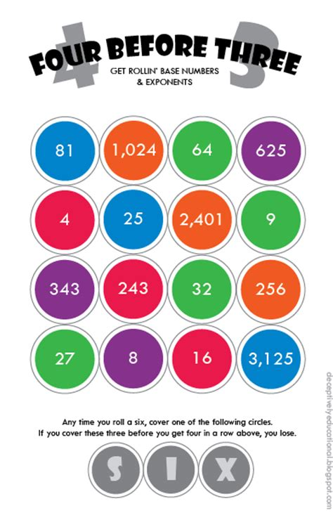 printable exponent games relentlessly fun deceptively educational four before
