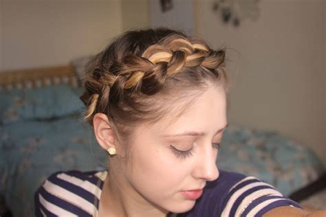 crown braid short hair hairstyles short fine hair tutorial easy crown braid plait youtube
