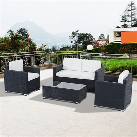 outsunny 4 piece cushioned outdoor rattan wicker sofa set