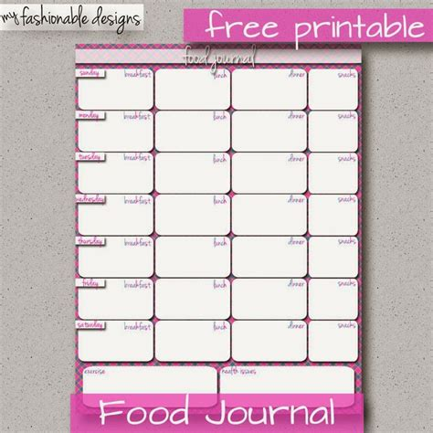 printable food journal 28 best images about free printable food journals on