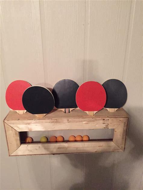 diy ping pong paddle  ball holder pool table room