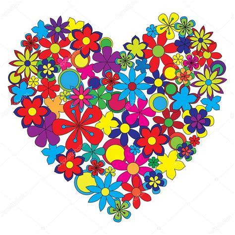 fiori colorati immagini cuore decorativo fatto di fiori colorati vettoriali
