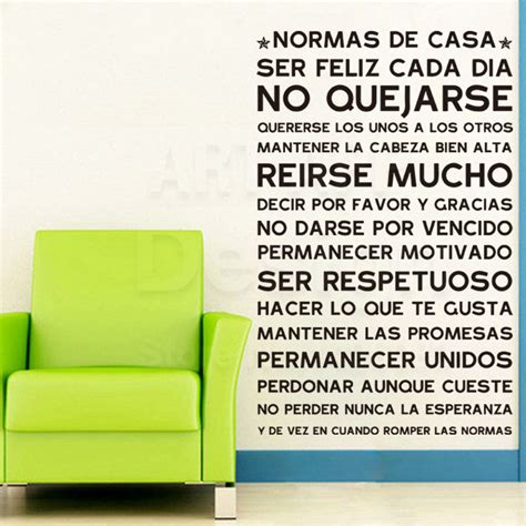 house rules art words graphics pvc wall sticker wallpaper art design home decoration vinyl spanish home rules words