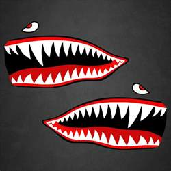 Airplane Wall Stickers 2 11 quot x21 quot flying tigers wwii shark teeth stickers decals