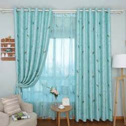 Curtains With Bird Pattern Contemporary Blue Printed Bird Pattern Insulated Blackout Curtain