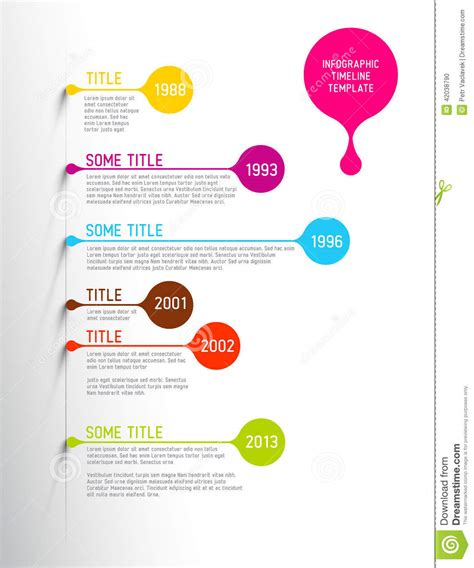 colorful infographic timeline report template with bubbles