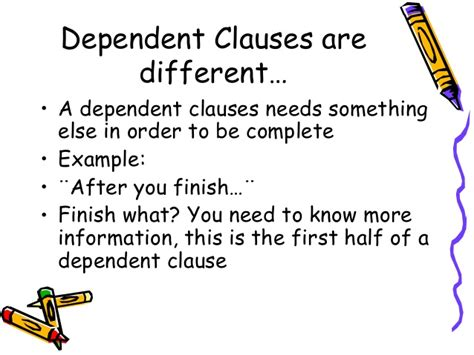 exle of dependent clause relative clauses
