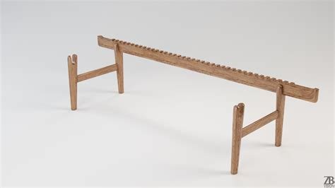 hans wegner bench pp 589 bar bench 3d model zb vision
