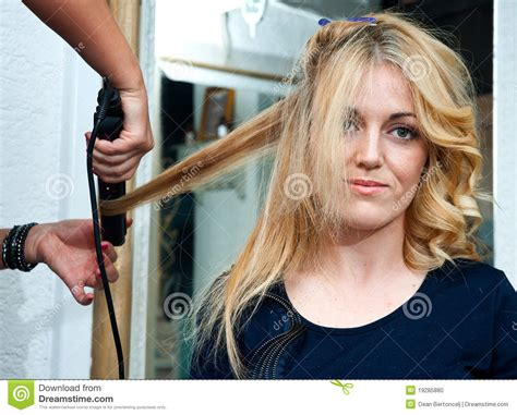 how stylist curled your hair in the 50s and 60s curling hair stock photo image of occupation barber