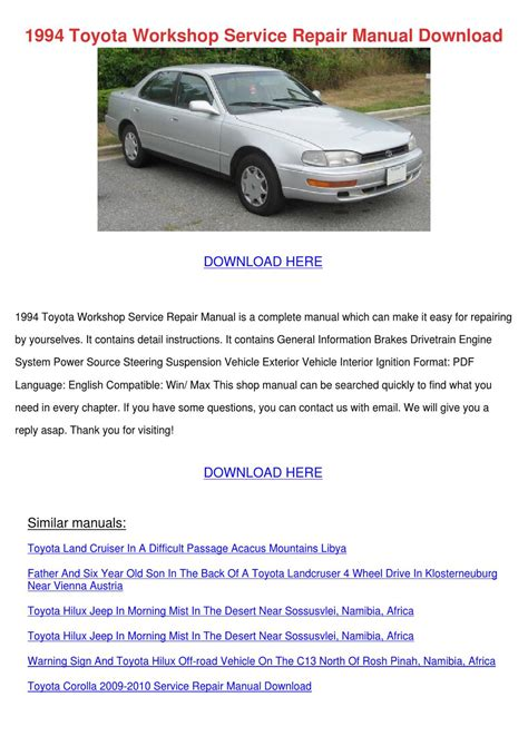 how to download repair manuals 1994 toyota land cruiser seat position control 1994 toyota workshop service repair manual do by rustyreeve issuu