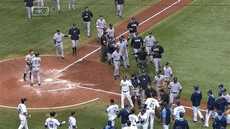 baseball benches clear benches clear after yanks retaliate after hbp viyoutube