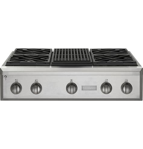 Ge Monogram 36 Inch Gas Cooktop monogram 174 36 quot professional gas rangetop with 4 burners and grill gas zgu364nrpss