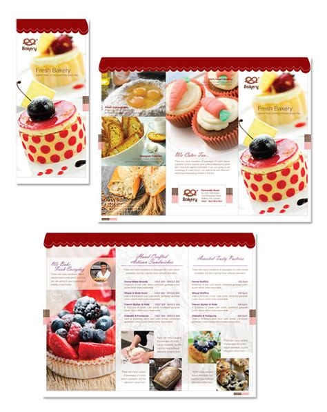 free bakery flyer templates artisan decorative bakery tri fold brochure template