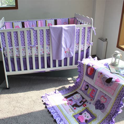 Crib Bedding Sets With Bumpers Purple Animals Baby Crib Bedding Set 3d Embroidered Comforter Bumpers Sheet Blanket For
