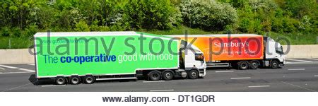 sainsburys supermarket articulated delivery trailer  volvo hgv stock photo  alamy