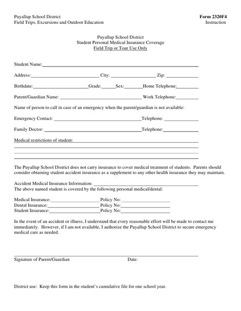 Field Trip Forms Field Trip Waiver Form Template