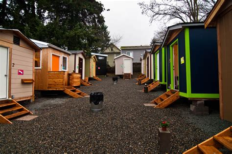 tiny houses in the tiny house village low income housing institute
