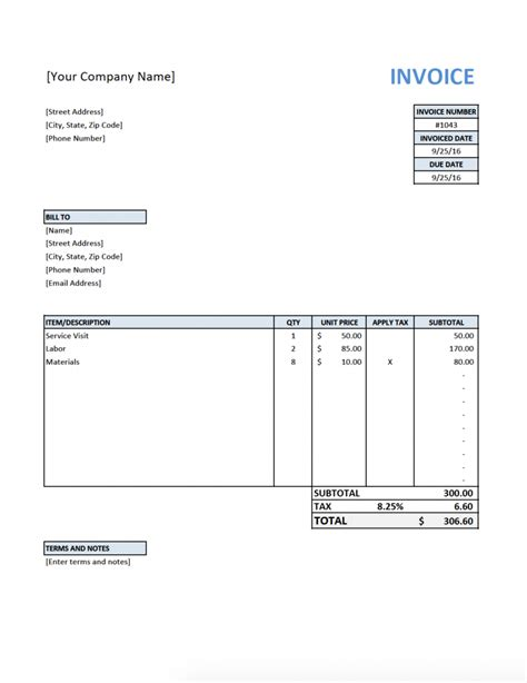 free template invoices free invoice template for contractors