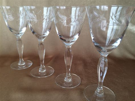 etched barware pin vintage etched wine glasses stemware crystal by vintagemaryellen on pinterest