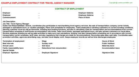 Agency Manager by Travel Agency Manager Employment Contract Job101251
