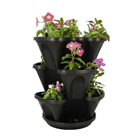 Stacking Pots Planters metal vertical wall planters pots planters garden center the home depot