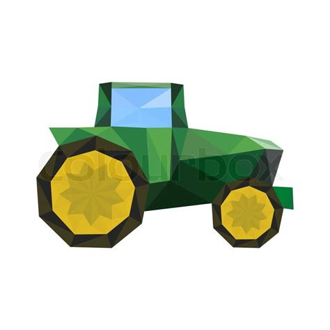 Origami Tractor - illustration of abstract origami tractor isolated on white