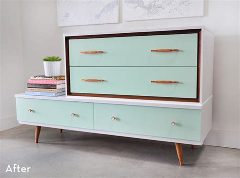 before and after mid century modern dresser makeover