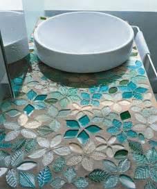 tile mosaic bathroom counter top in blue hues so pretty