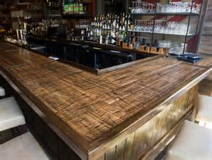Wood Plank Bar Top Reclaimed Boxcar Plank Bar Rustic Home Bar