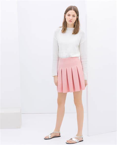 Floral Mini Dress Pink Zara Trafaluc Trf zara pleated skirt in pink lyst