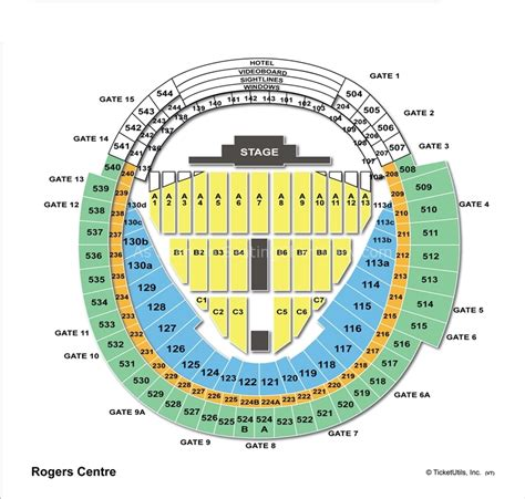 rogers centre seating plan for concerts rogers centre toronto on seating chart view