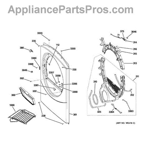ge dryer parts diagram ge we1m568 shoe rack appliancepartspros