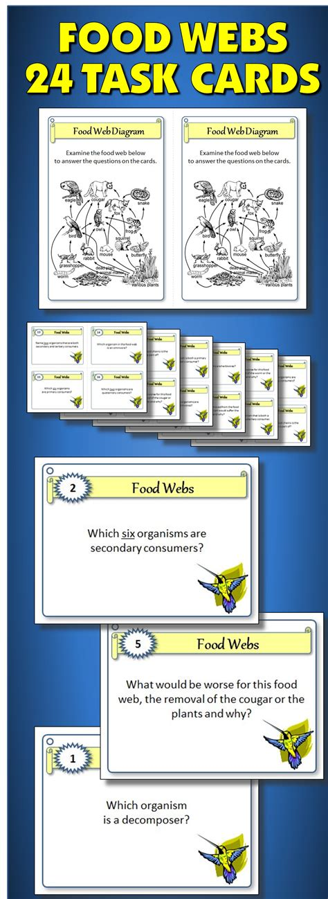 Task Card Answer Template by Food Webs Task Cards With Editable Template Food Webs
